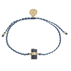 BLACK TOURMALINE CRYSTAL BRACELET - BLUE & WHITE - GOLD