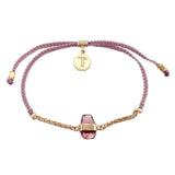 CHAIN & CORD CRYSTAL BRACELET - GARNET - DUSTY PINK - GOLD
