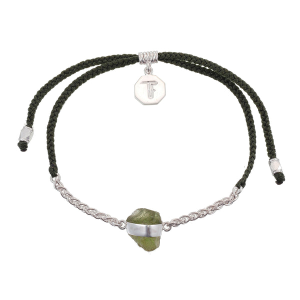 CHAIN & CORD CRYSTAL BRACELET - PERIDOT- OLIVE GREEN - SILVER