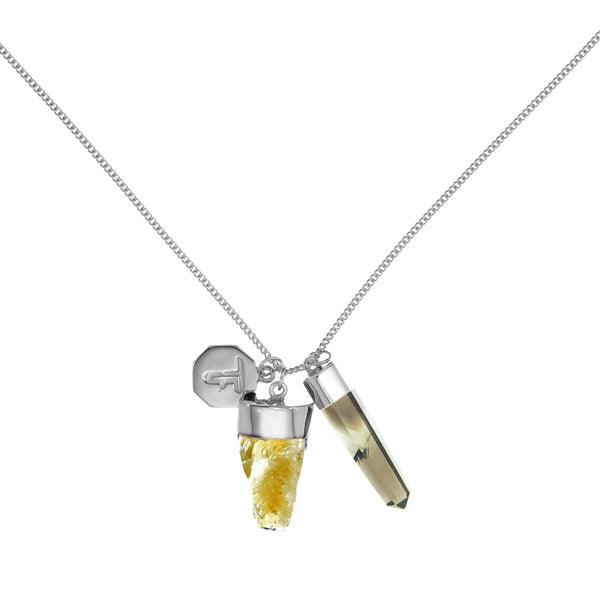 SUPERPOWER CHARM NECKLACE - CITRINE & SMOKEY QUARTZ - SILVER