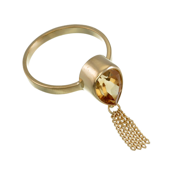 CITRINE  TASSEL RING - GOLD