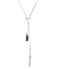 CRYSTAL & PARROT NECKLACE WITH BLACK TOURMALINE - sterling silver by tiger frame jewellery