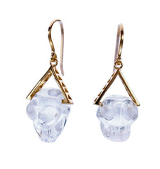 CRYSTAL SKULL EARRINGS  - Gold