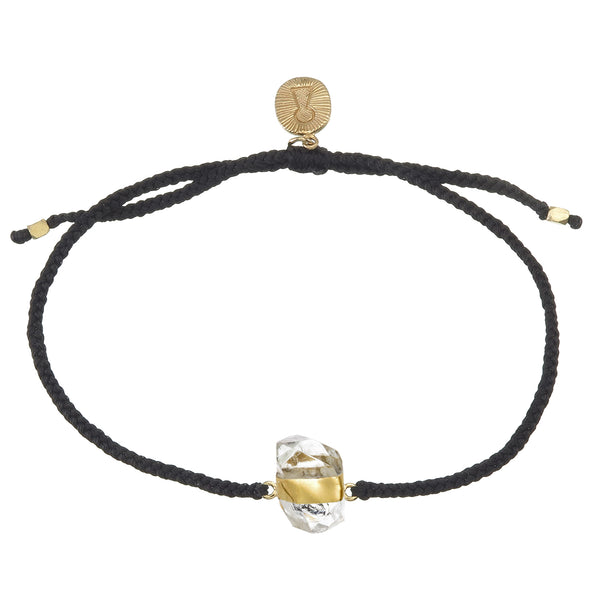 DIAMOND QUARTZ CRYSTAL BRACELET - BLACK - GOLD