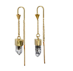 DIAMOND QUARTZ CRYSTAL PULL THROUGH  EARRINGS - gold plated sterling silver by tiger frame jewellery
