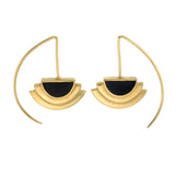 ECLIPSE EARRINGS - BLACK - GOLD plated sterling silver by tiger frame jewellery