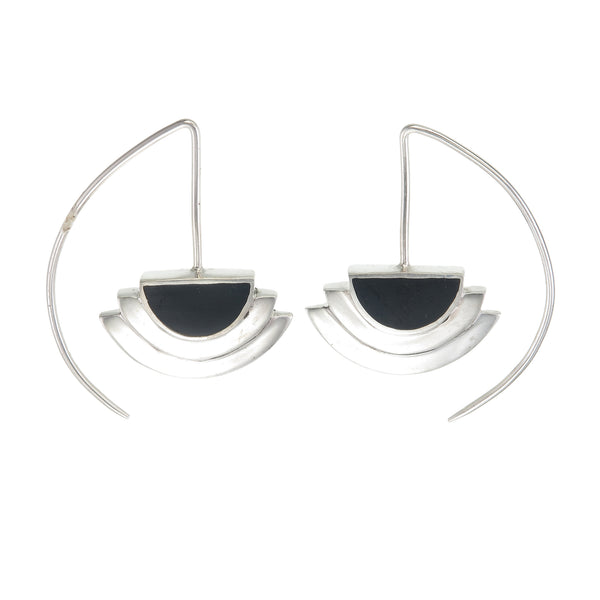 ECLIPSE EARRINGS - BLACK - SILVER