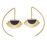 ECLIPSE EARRINGS - NAVY - GOLD plated sterling silver by tiger frame jewellery