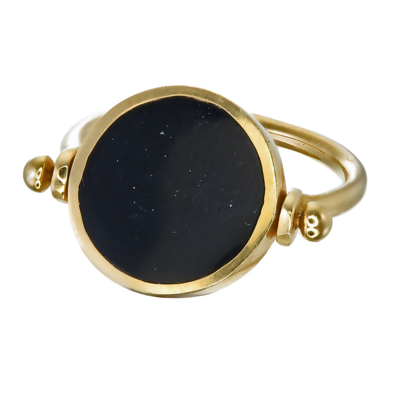 ECLIPSE SWIVEL RING - BLACK - GOLD plated sterling silver by tiger frame jewellery