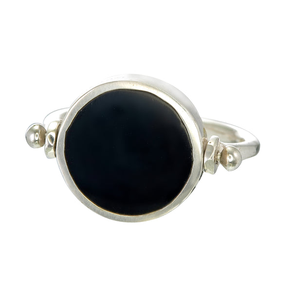 ECLIPSE SWIVEL RING - BLACK - SILVER
