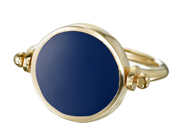ECLIPSE  SWIVEL RING - NAVY - gold plated sterling silver by tiger frame jewellery