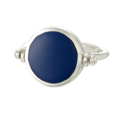 ECLIPSE  SWIVEL RING - NAVY - SILVER