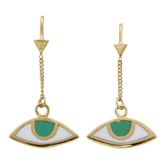 EGYPTIAN EYE PULL THROUGH EARRINGS - GREEN EYES - GOLD plated sterling silver by tiger frame jewellery