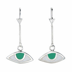 EGYPTIAN EYE PULL THROUGH EARRINGS- GREEN EYES - SILVER
