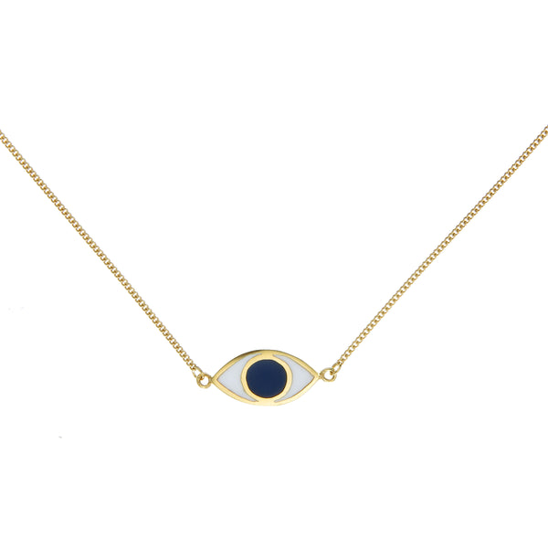 EYE SPY NECKLACE - BLUE - GOLD PLATED STERLING silver by tiger frame jewellery