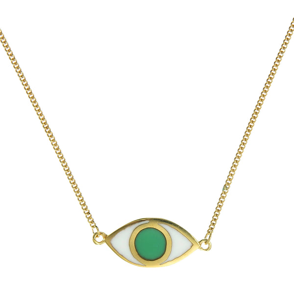 EYE SPY NECKLACE - GREEN - gold plated sterling silver by tiger frame jewellery