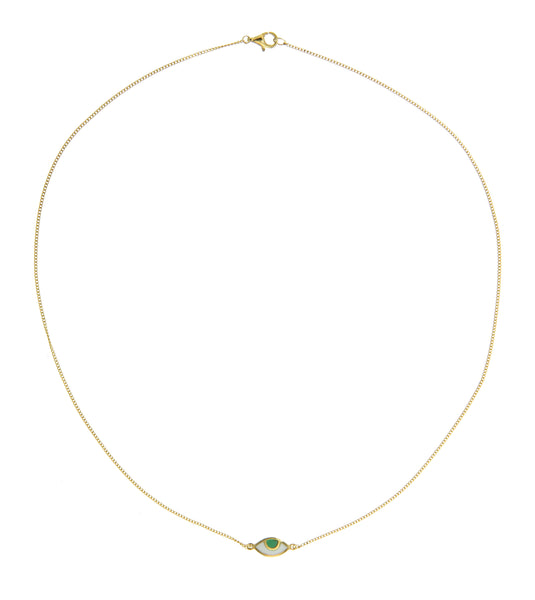 EYE SPY MINI NECKLACE - GREEN - GOLD plated sterling silver by tiger frame jewellery