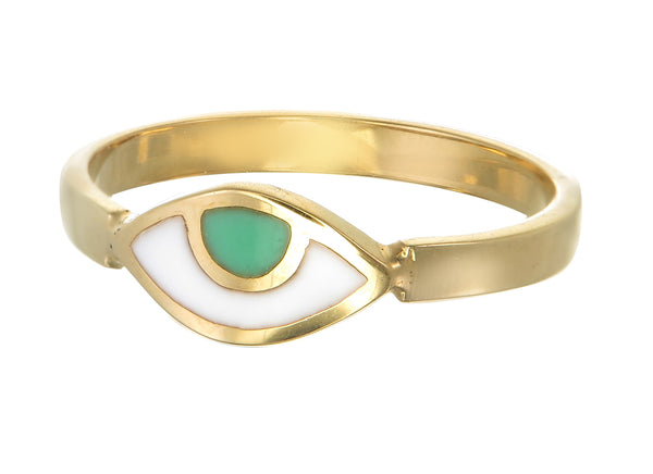EYE SPY RING - GREEN - GOLD plated sterling silver by tiger frame jewellery