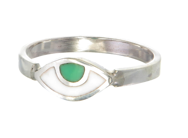 EYE SPY RING - GREEN - SILVER
