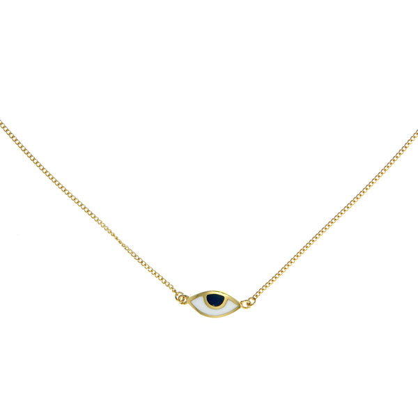 EYE SPY MINI NECKLACE - BLUE - GOLD plated sterling silver by tiger frame jewellery