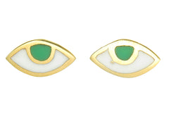 EYE SPY WITH MY TINY EYE - STUD EARRINGS - GREEN - gold plate on sterling silver by tiger frame jewellery