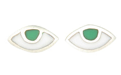 EYE SPY WITH MY TINY EYE - STUD EARRINGS - GREEN - sterling silver by tiger frame jewellery