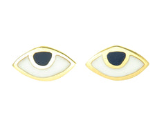 EYE SPY WITH MY TINY EYE - STUD EARRINGS - NAVY - GOLD plated sterling silver by tiger frame jewellery