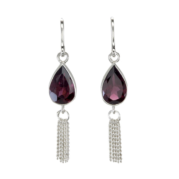 GARNET TEARDROP TASSEL PULL THROUGH - sterling silver by tiger frame jewellery