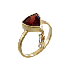 GARNET TASSEL RING - GOLD