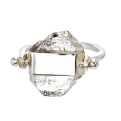 DIAMOND QUARTZ SWIVEL RING - SILVER