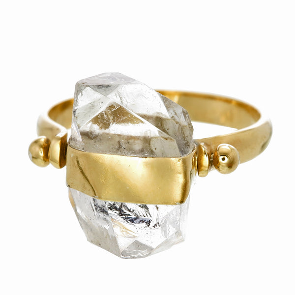 DIAMOND QUARTZ SWIVEL RING - GOLD