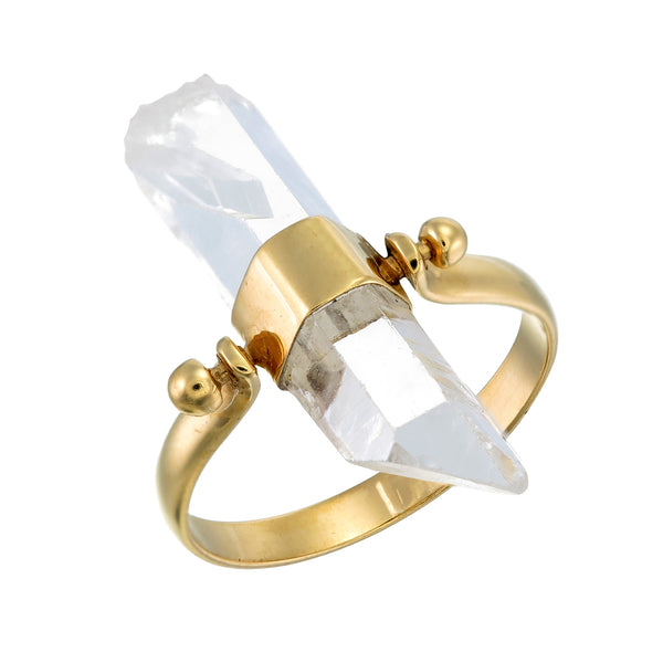 ROUGH QUARTZ SWIVEL RING - GOLD plate on sterling silver by tiger frame jewellery
