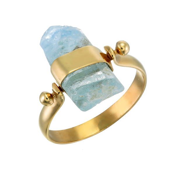 AQUAMARINE SWIVEL RING - GOLD plated sterling silver by tiger frame jewellery