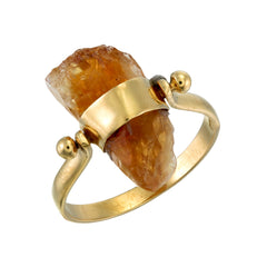 CITRINE SWIVEL RING - GOLD plated sterling silver by tiger frame jewellery