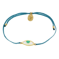 EYE PROTECTION BRACELET - TEAL GREEN - GOLD plated sterling silver by tiger frame jewellery