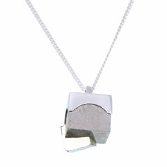 BIG PYRITE NECKLACE -SILVER