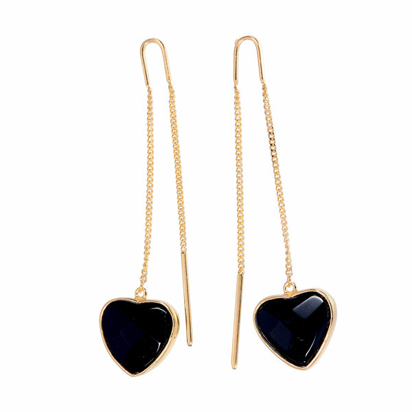 BLACK ONYX HEART PULL THROUGH EARRINGS - Gold plated sterling silver by tiger frame jewellery