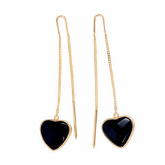 BLACK ONYX HEART PULL THROUGH EARRINGS - Gold