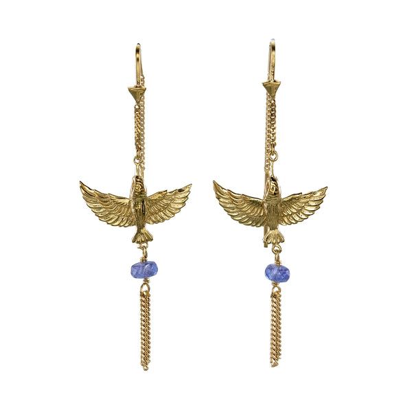 INFLIGHT PULL THROUGH EARRINGS  -TANZANITE  - GOLD
