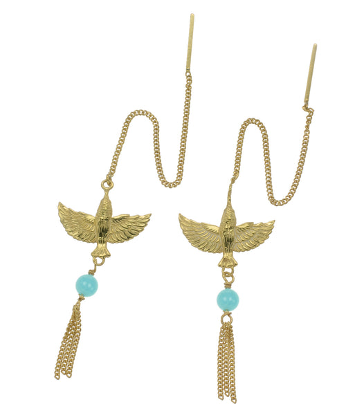 INFLIGHT PULL THROUGH EARRINGS- AMAZONITE - GOLD
