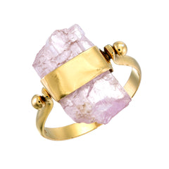 KUNZITE SWIVEL RING - GOLD plate on sterling silver by tiger frame jewellery