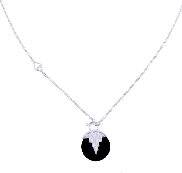 AURORA PENDULUM NECKLACE BLACK ONYX - LONG - SILVER