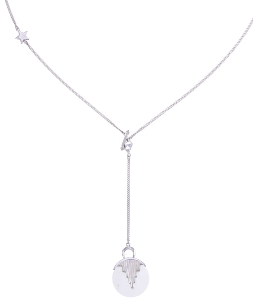 AURORA PENDULUM NECKLACE QUARTZ - LONG - SILVER