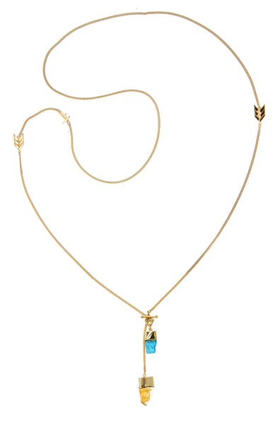 LONG CRYSTAL NECKLACE WITH APATITE & CITRINE CRYSTALS - gold plate on Sterling silver by tiger frame jewellery