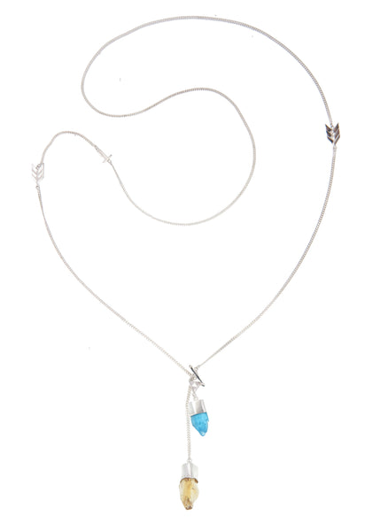 LONG CRYSTAL NECKLACE WITH APATITE & CITRINE CRYSTALS - Sterling silver by tiger frame jewellery