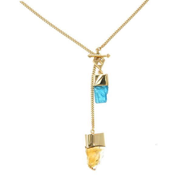 LONG CRYSTAL NECKLACE WITH APATITE & CITRINE CRYSTALS - GOLD