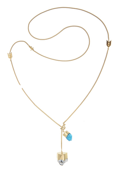 LONG CRYSTAL NECKLACE WITH DIAMOND QUARTZ & APATITE CRYSTALS - gold plate on sterling silver by tiger frame jewellery