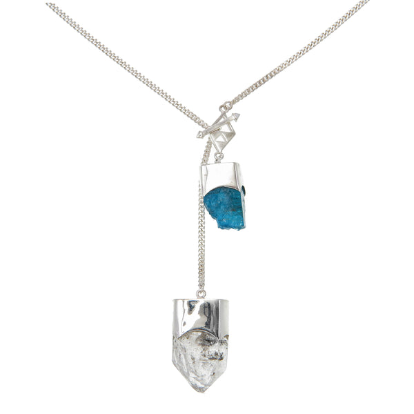 LONG CRYSTAL NECKLACE WITH DIAMOND QUARTZ & APATITE CRYSTALS - Sterling silver by tiger frame jewellery