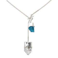 LONG CRYSTAL NECKLACE WITH APATITE & DIAMOND QUARTZ CRYSTALS - SILVER