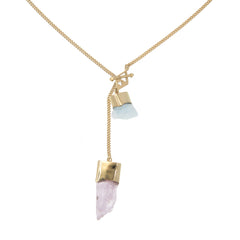 LONG CRYSTAL NECKLACE WITH AQUAMARINE & KUNZITE CRYSTALS - GOLD